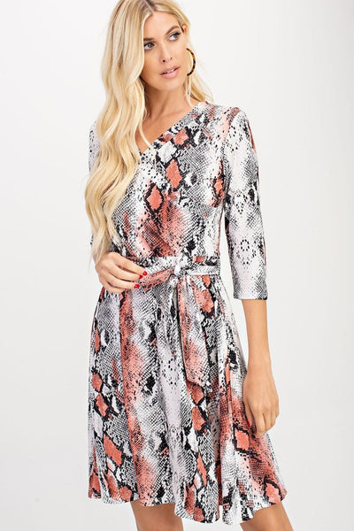 Ivory & Blush Reptile Print Dress