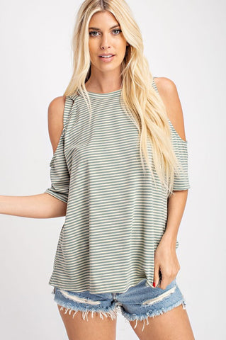 Oatmeal & Sage Striped Top