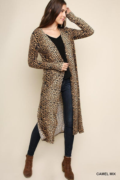 Jaguar Print Long Cardigan