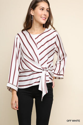 Off White Striped Keyhole Top