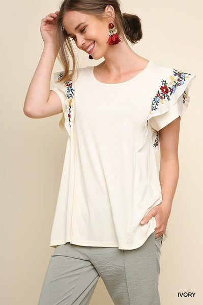 Round Neck Floral Ruffle Top