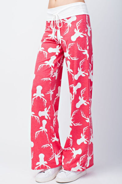 Red Reindeer Wide Leg Pants