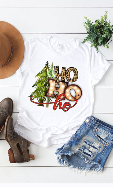 White Ho Ho Tree Tee