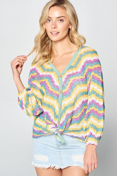 Yellow Multi Chevron Top