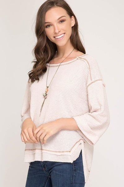Light Taupe 3/4 Sleeve Knit Top