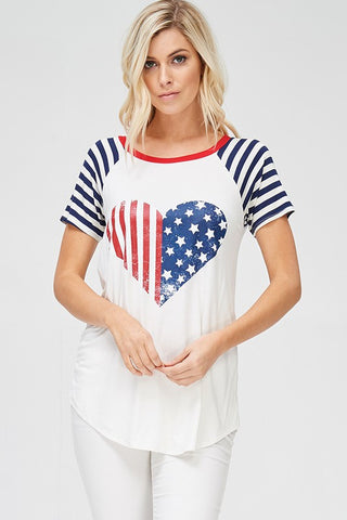 Navy American Flag Top