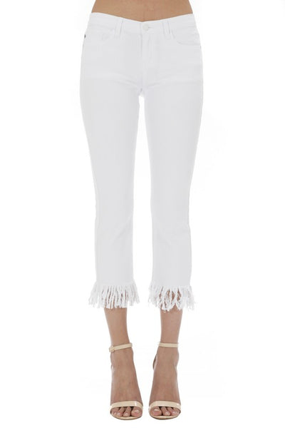 White Long Fray Skinny Jeans