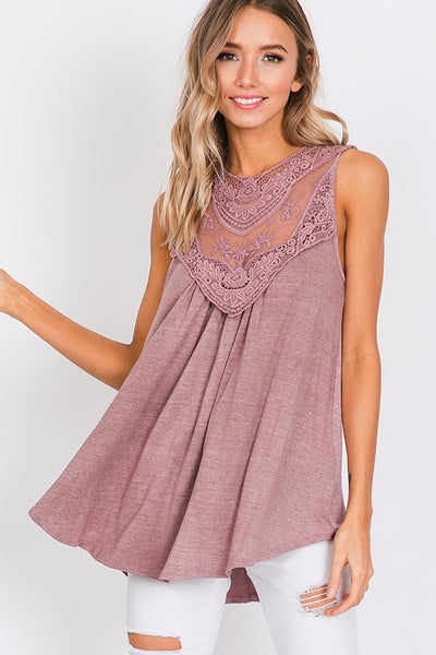 Mauve Lace Patch Tank