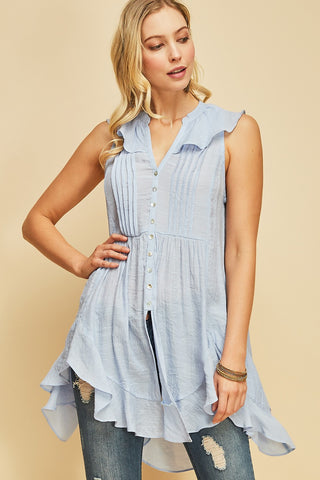 Ice Blue Button-Up Top
