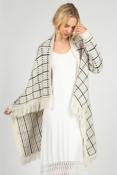 Cream & Black Hairy Cardigan