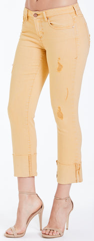 Mellow Yellow Playback Cuffed Straight Jeans