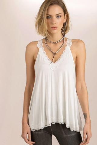 Ivory Lace Trim Halter Top