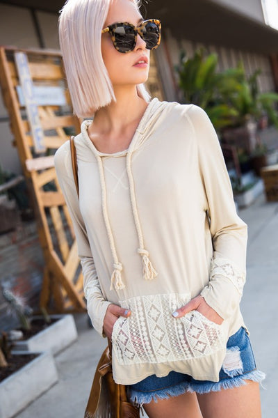 Beige Adjustable Hooded Top