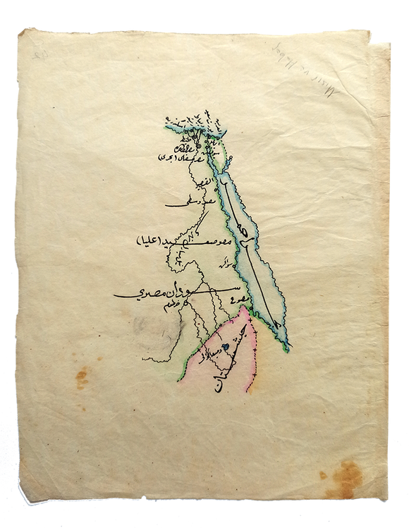 [EGYPT, HABES [ETHIOPIA], SUDAN AND RED SEA] Manuscript map on a tissue paper of Egypt, Ethiopia, Sudan, Red Sea