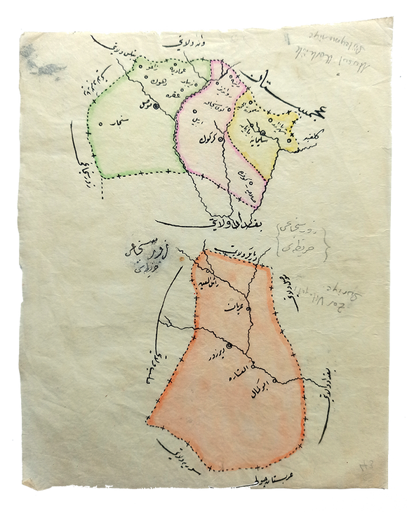 [MOUSOUL, QIRKUK, SANJAK OF DEIR AL-ZOR, BAGHDAD] Manuscript map on a tissue paper of Vilâyat of Baghdad, Zor [Deir Al-Zor], Mousul and Soleimaniyya