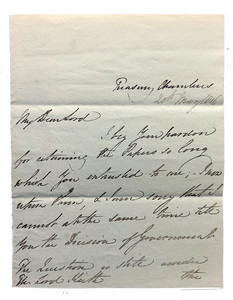 "Autograph letter signed to Admiral Lord Keith, apologising for keeping the papers so long, stating that ""the question is st"" by Charles Arbuthnot"