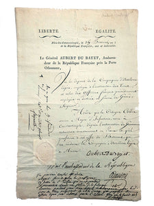 Autograph document signed 'Aubert du Bayet', with six other co-signatures by other politic figures.