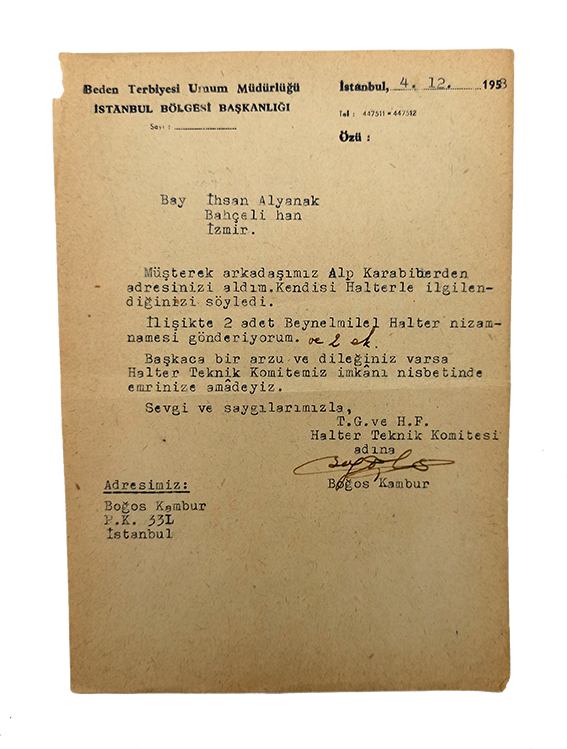 Typescript document signed 'Bogos', with autograph corrections, sent to Ihsan Alyanak, (1924-2008).