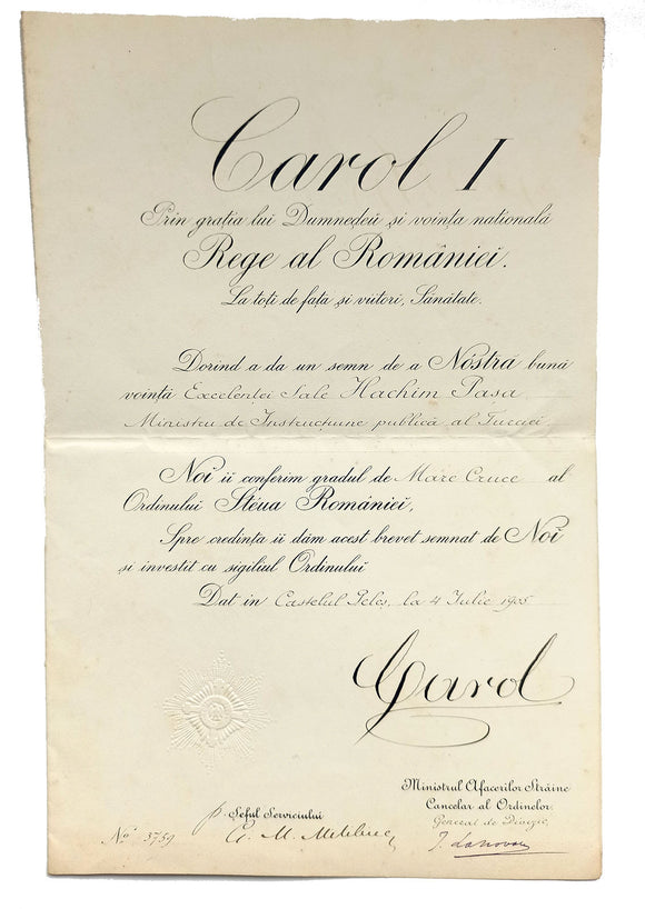 [ADS / ROYALTY / MEDAL] Autograph document signed 'Carol I', a medal reward certificate given to Mustafa Hasim Pasha, (1852-1920), with co-signatures by Ministrul Afacerilor Straine Canccelar