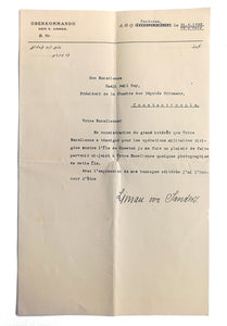 Typed document signed 'Liman von Sanders', sent to Hadji Adil Bey, who was an Ottoman statesman.