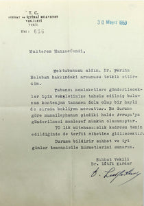 Autograph document signed 'Sihhat Vekili Dr. Lûtfi Kirdar', sent to Turkish poetess Halide Nusret Zorlutuna, (1901-1984).