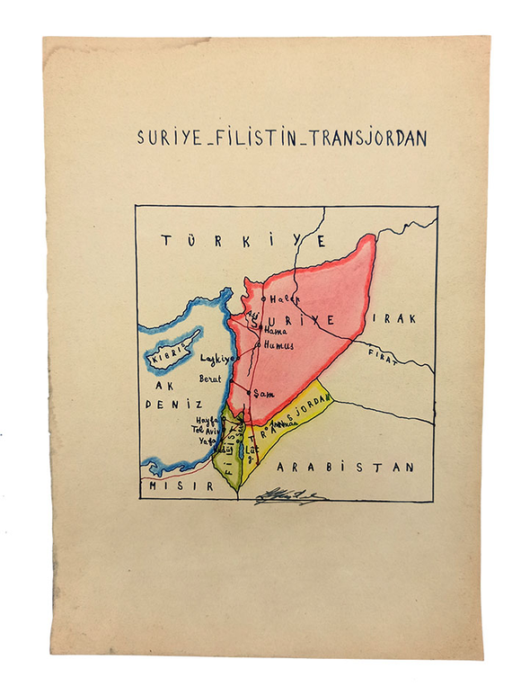 [MANUSCRIPT HAND-COLOURED MAP OF SYRIA - PALESTINE - TRANSJORDAN] Suriye - Filistin - Transjordan.