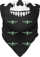 Skull & Pumps Face Buff/Neck Gaiter Black w/ Green