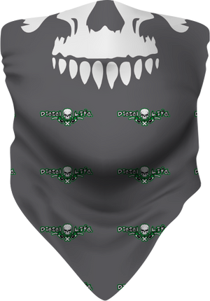 Skull & Pumps Face Buff/ Neck Gaiter Grey w/ Green