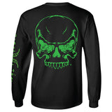 Full Skull Long Sleeve T-Shirt - Black with Green Imprint - Diesel Life®