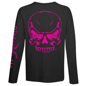 Women's Full Skull Long Sleeve T-Shirt - Black with Pink Imprint - Diesel Life®