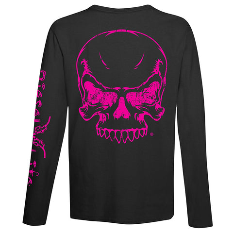 Women's Full Skull Long Sleeve T-Shirt - Black with Pink Imprint