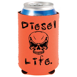 Diesel Life Skull Koozie Orange with Black Imprint - Diesel Life®
