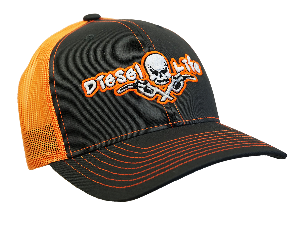 Diesel Life Snap Back Hat - Charcoal/Neon Orange - Diesel Life®