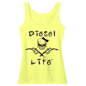 Women's Lady Skull & Pumps Tank - Neon Yellow with Black Imprint