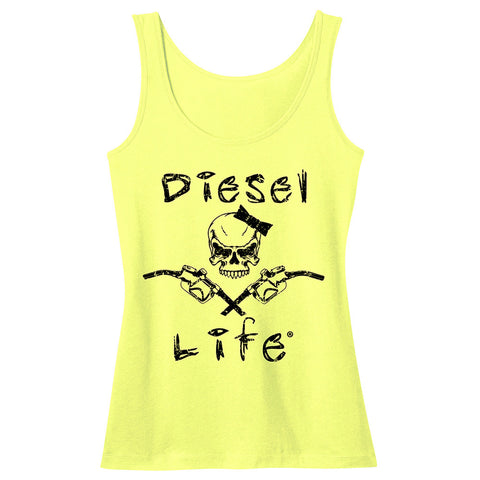 Women's Lady Skull & Pumps Tank - Neon Yellow with Black Imprint - Diesel Life®
