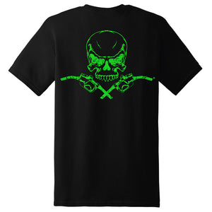 Skull & Pumps Short Sleeve T-Shirt - Black with Neon Green Imprint - Diesel Life®