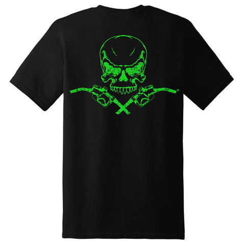 Skull & Pumps Short Sleeve T-Shirt - Black with Neon Green Imprint