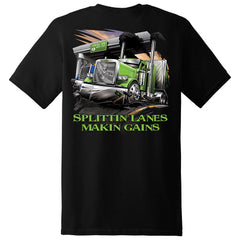 Splittin' Lanes and Making Gains Short Sleeve T-Shirt