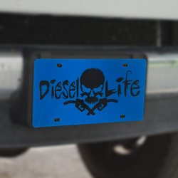 Skull & Pumps License Plate Blue w/ Black - Diesel Life®
