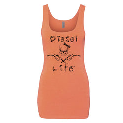 Ladies Skull & Pumps Tank Top Neon Orange w/ Black - Diesel Life®