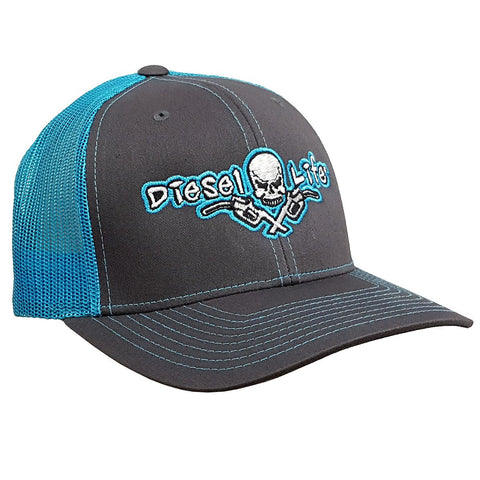 Diesel Life Snap Back Hat - Charcoal / Neon Blue