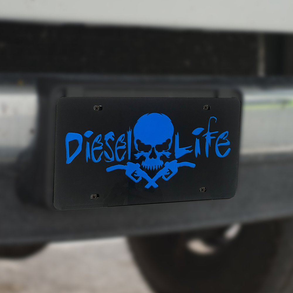 Skull & Pumps License Plate Black w/ Blue - Diesel Life®