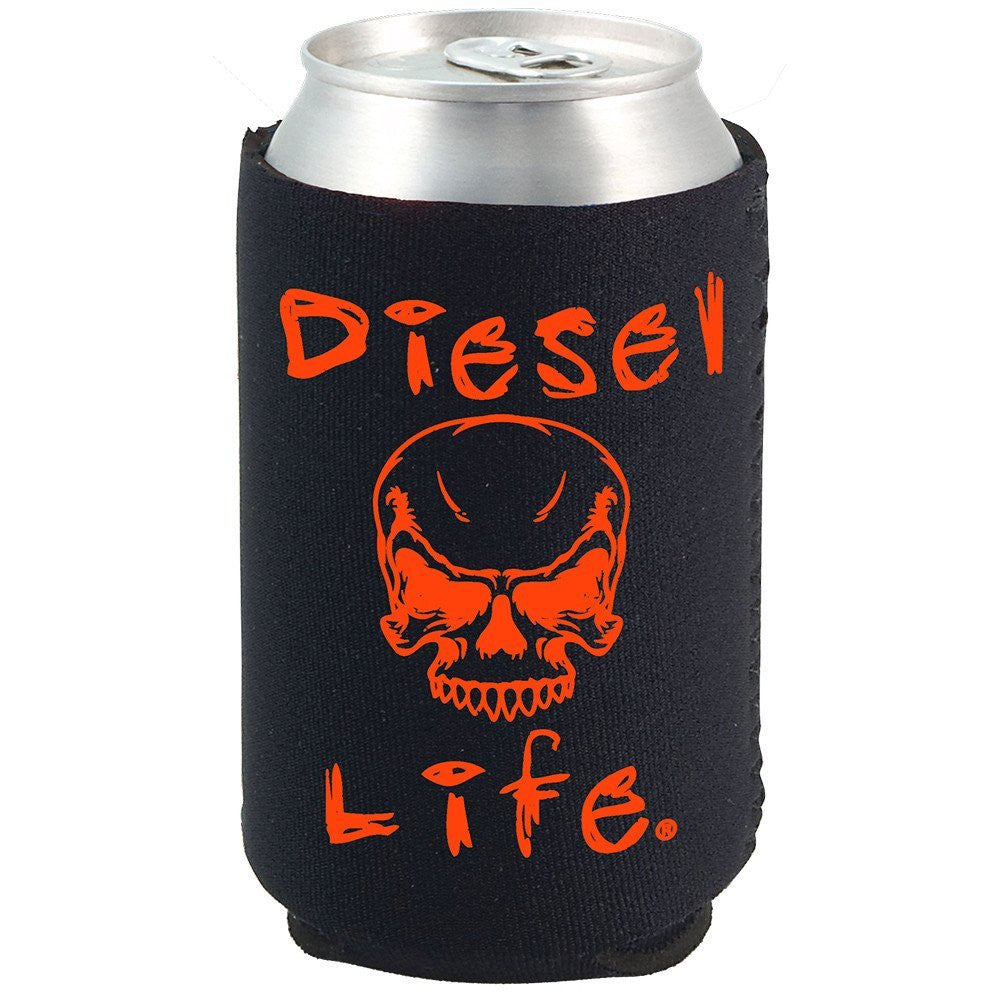 Diesel Life Skull Koozie Black with Orange Imprint - Diesel Life®
