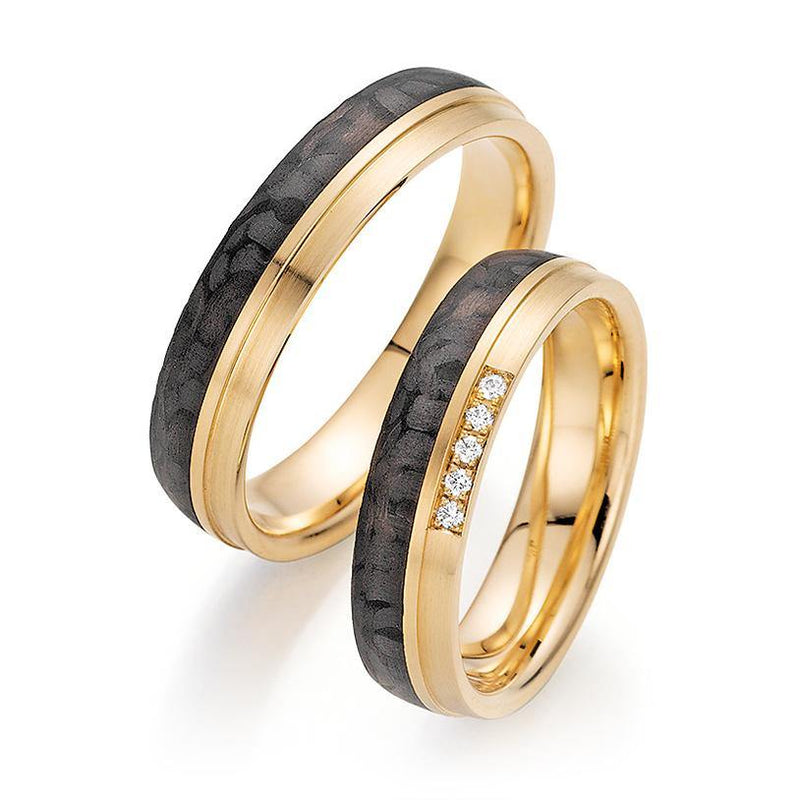Trauringe Apricotgold / Carbon mit Brillanten - Mcollection Aachen
