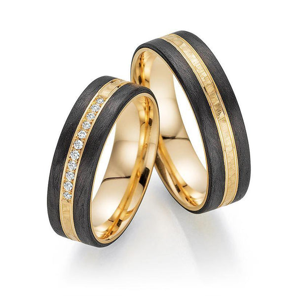 Trauringe Apricotgold / Carbon mit Brillant - Mcollection Aachen