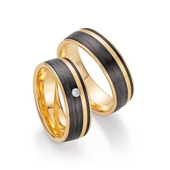 Trauringe Apricotgold/ Carbon zweifarbig mit Brillant - Mcollection Aachen