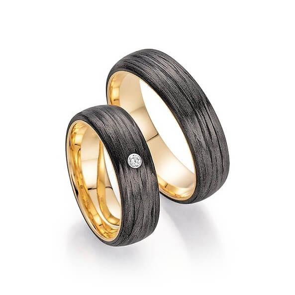 Trauringe Apricotgold/Carbon zweifarbig mit Brillant - Mcollection Aachen