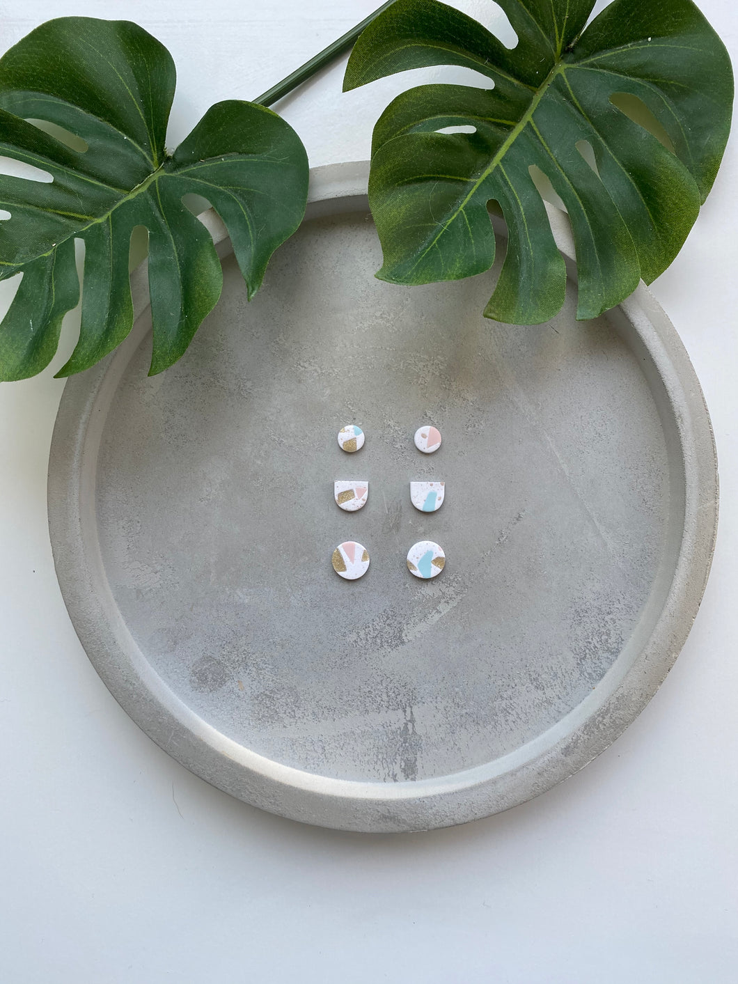 6PK STUD EARRINGS TERRAZZO