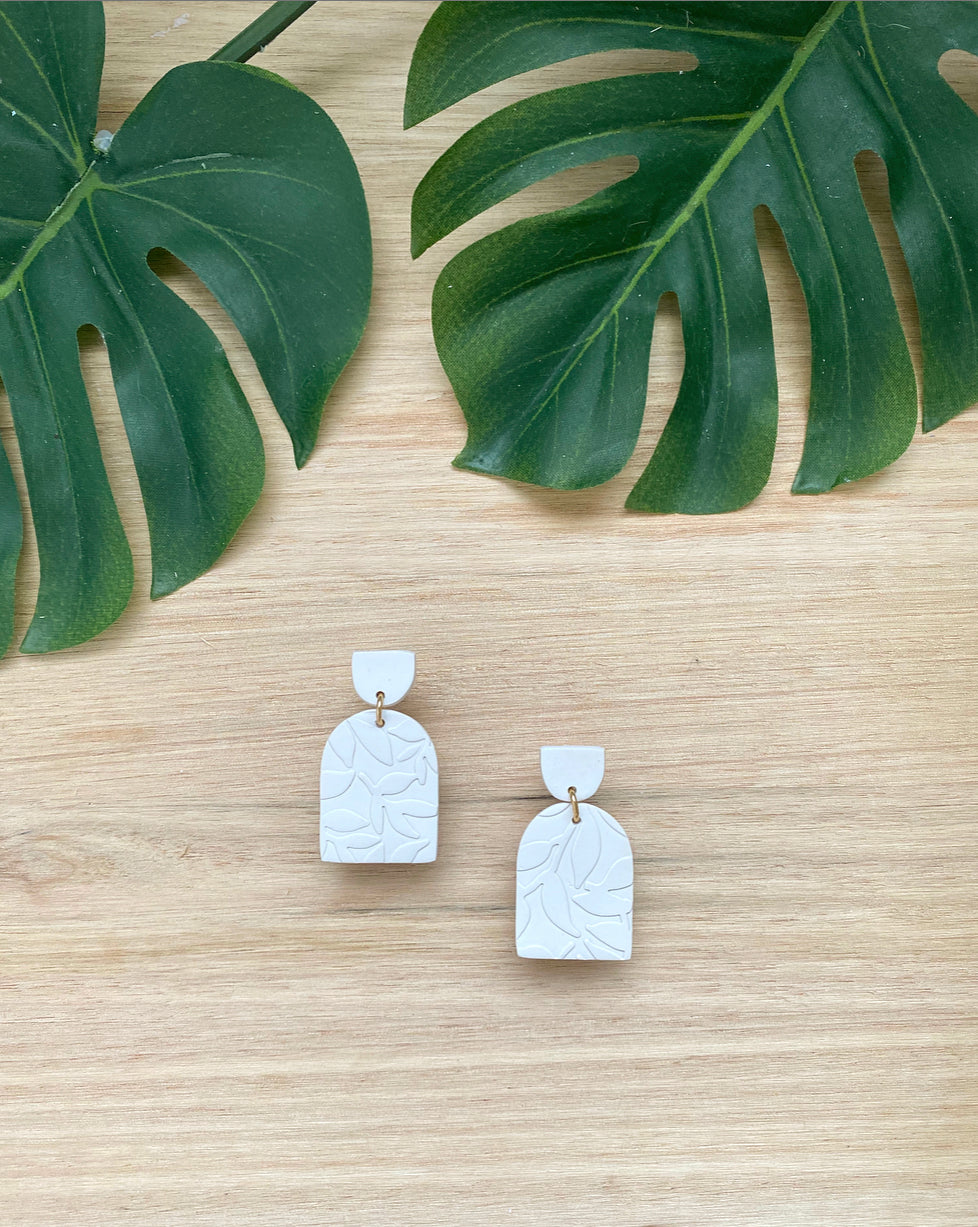 ARMELLE ARCH DROP EARRINGS - FERN PATTERN