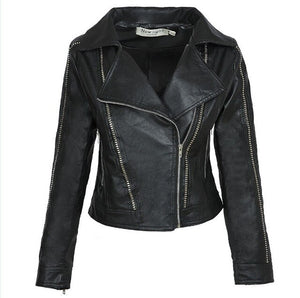Women's Black Faux Leather Jackets Zipper Basic Coat Turn-down Collar Pilot Motorcycle Outerwear